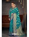 Teal Blue Designer Sana Silk Classic Wear Saree