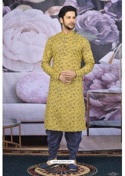 Yellow Cotton Fancy Classic Wear Kurta Pajama