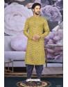 Yellow Cotton Fancy Classic Wear Kurta Pajama