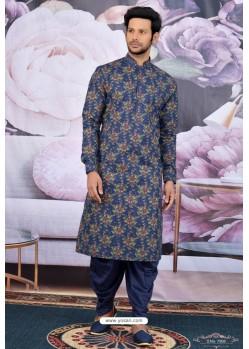 Navy Blue Cotton Fancy Classic Wear Kurta Pajama