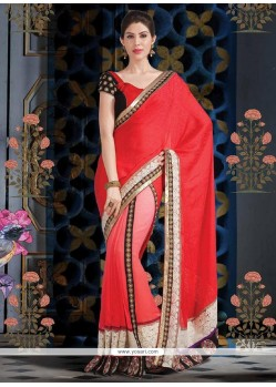 Gorgeous Mystical Red And Pink Shade Faux Georgette Saree