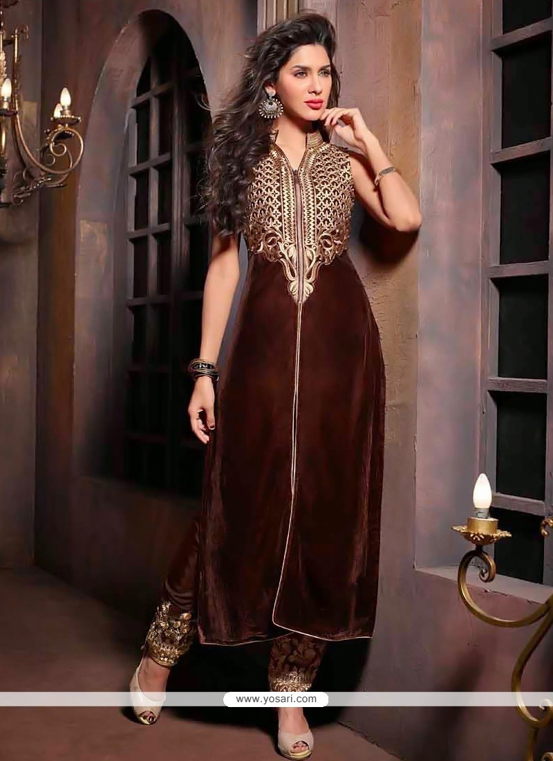 Modern Brown Velvet Embroidery Churidar Suit