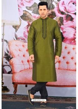 Mehendi Green Art Banarasi Silk Embroidered Kurta Pajama
