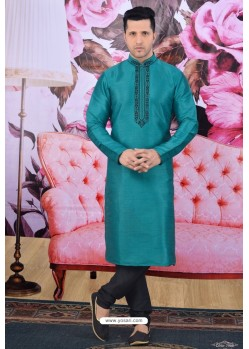 Teal Art Banarasi Silk Embroidered Kurta Pajama