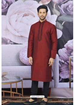 Wine Art Banarasi Silk Embroidered Kurta Pajama