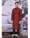 Wine Art Banarasi Silk Embroidered Kurta Pajama