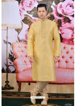 Gold Art Banarasi Silk Embroidered Kurta Pajama