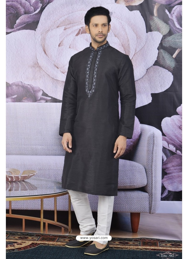 Black Art Banarasi Silk Embroidered Kurta Pajama