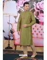 Two Tone Green Art Banarasi Silk Embroidered Kurta Pajama
