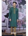 Teal Art Banarasi Silk Embroidered Kurta Pajama