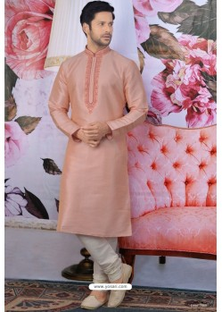 Peach Art Banarasi Silk Embroidered Kurta Pajama