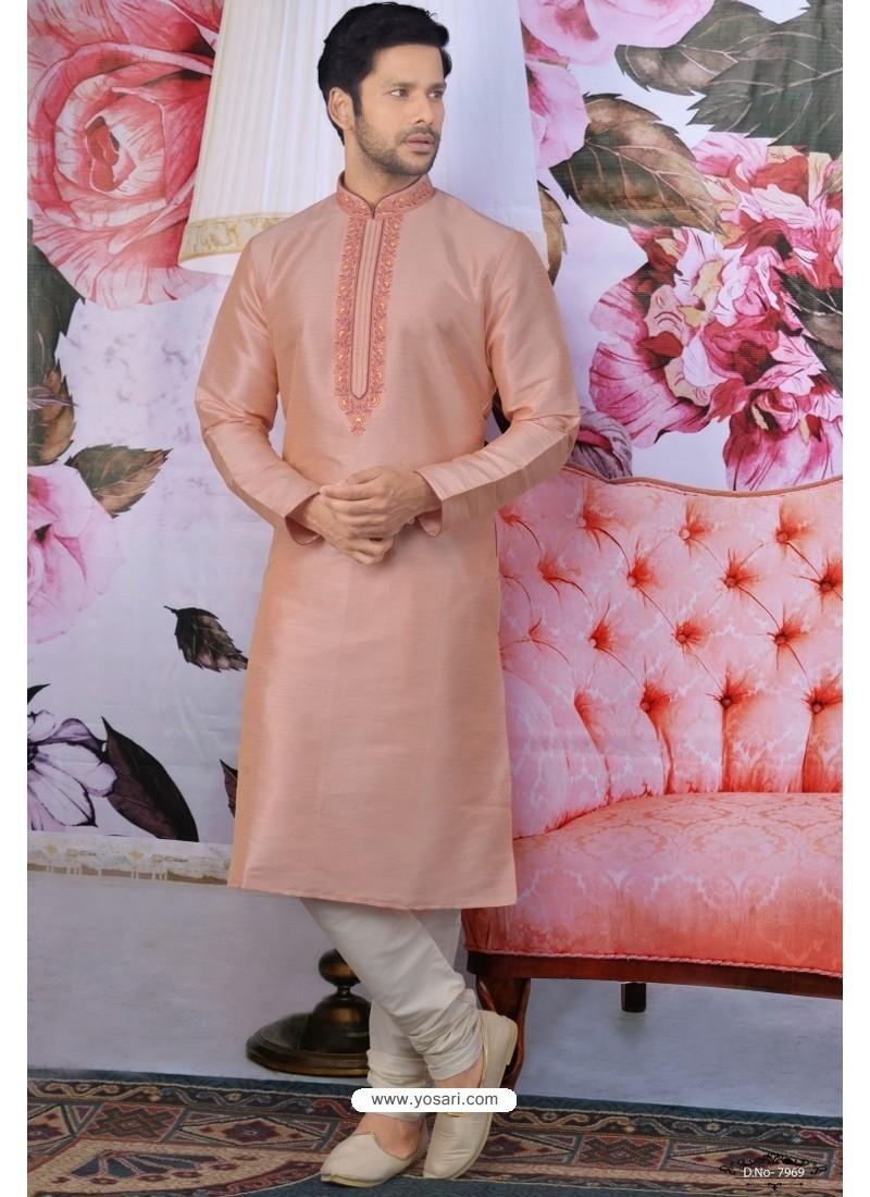 Peach Art Banarasi Silk Embroidered Kurta Pajama