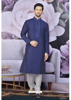 Navy Blue Art Banarasi Silk Embroidered Kurta Pajama