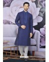 Navy Blue Art Banarasi Silk Embroidered Kurta Pajama