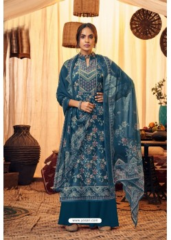 Teal Blue Pure Viscose Velvet Party Wear Palazzo Suit