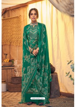 Forest Green Pure Viscose Velvet Party Wear Palazzo Suit