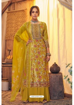 Mustard Pure Viscose Velvet Party Wear Palazzo Suit