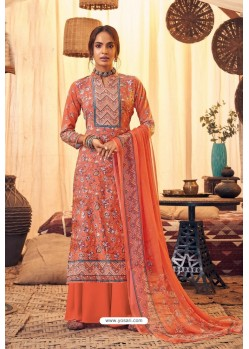 Orange Pure Viscose Velvet Party Wear Palazzo Suit
