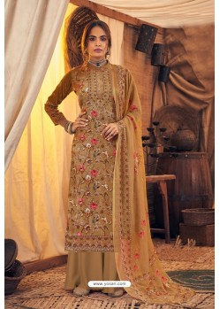 Beige Pure Viscose Velvet Party Wear Palazzo Suit