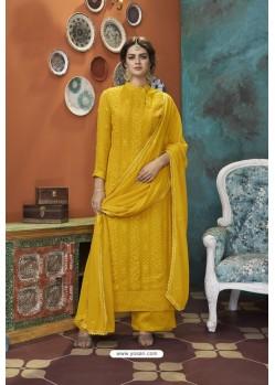 Yellow Heavy Faux Georgette Partywear Straight Suit