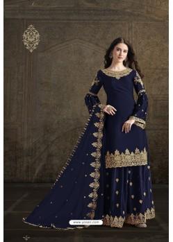 Navy Blue Rangoli Georgette Designer Partywear Suit