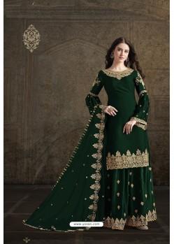 Dark Green Rangoli Georgette Designer Partywear Suit