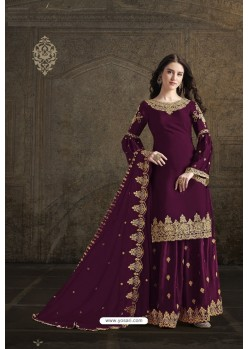 Purple Rangoli Georgette Designer Partywear Suit