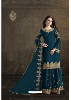 Teal Blue Rangoli Georgette Designer Partywear Suit