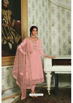 Peach Pure Tussar Silk Partywear Designer Suit