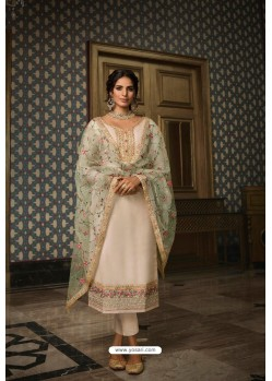 Off White Pure Tussar Silk Partywear Designer Suit