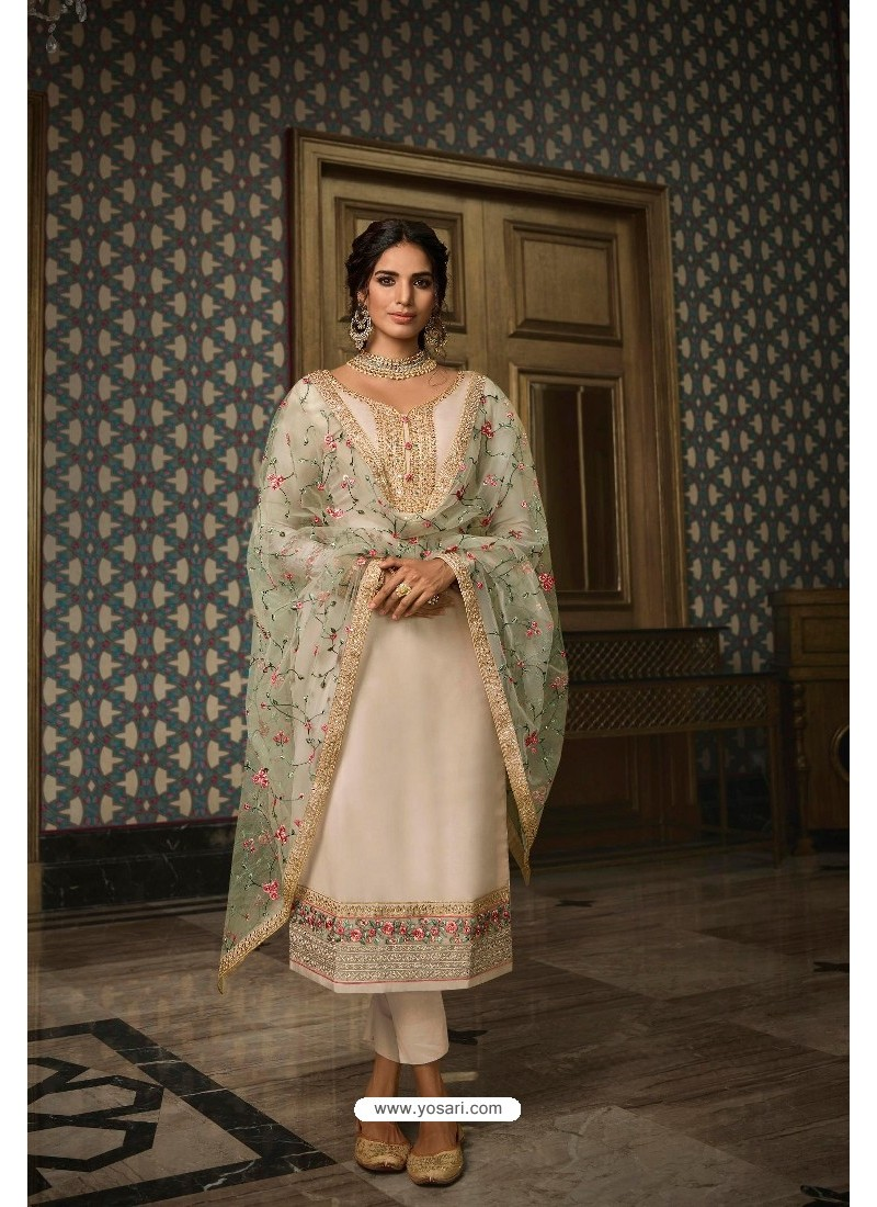 Off White Pure Tussar Silk Partywear Designer Suit