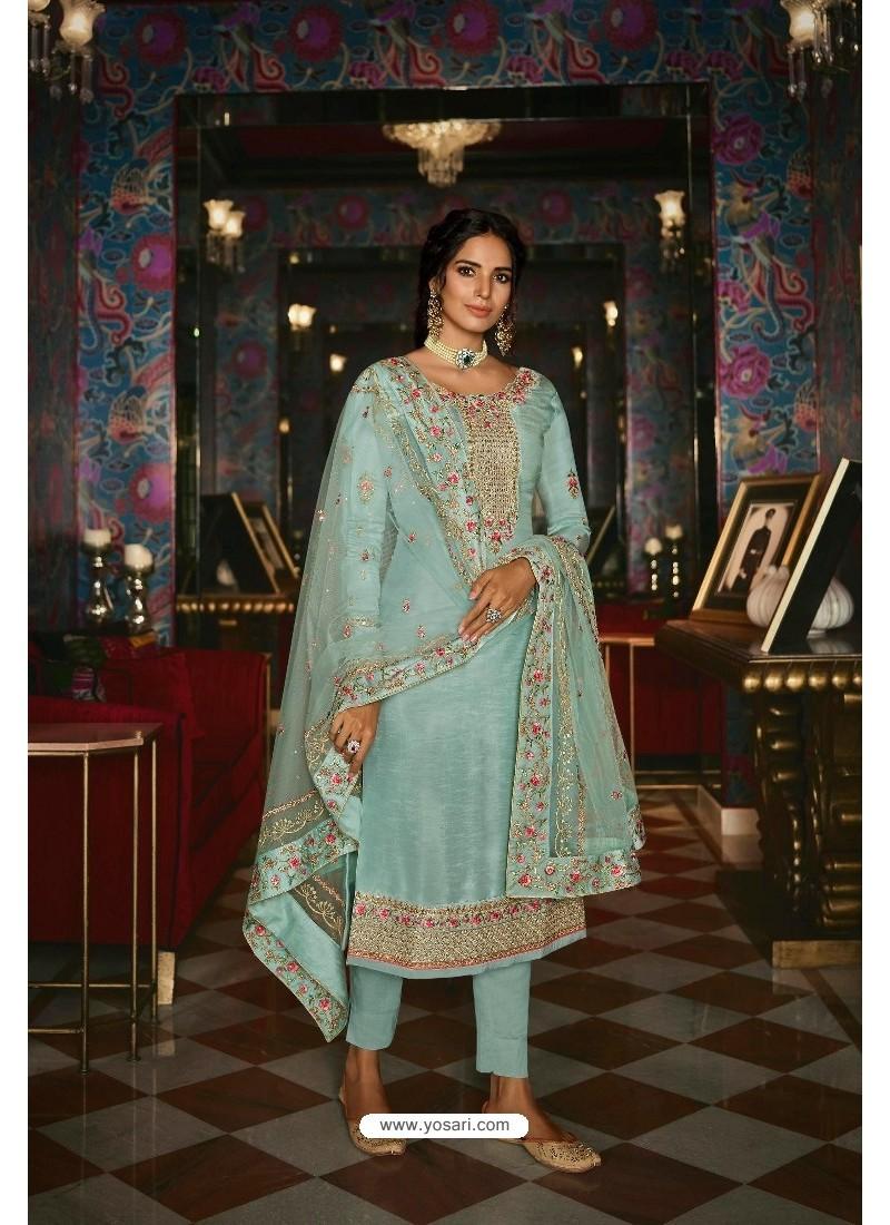 Sky Blue Pure Tussar Silk Partywear Designer Suit