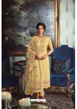 Yellow Pure Tussar Silk Partywear Designer Suit