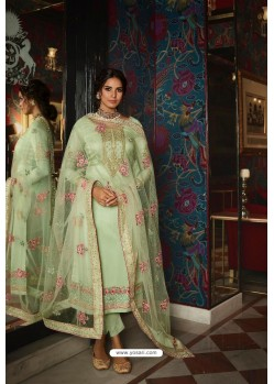 Sea Green Pure Tussar Silk Partywear Designer Suit