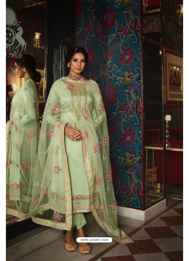 Sea Green Pure Tussar Silk Partywear Designer Suit