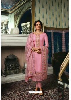 Pink Pure Tussar Silk Partywear Designer Suit