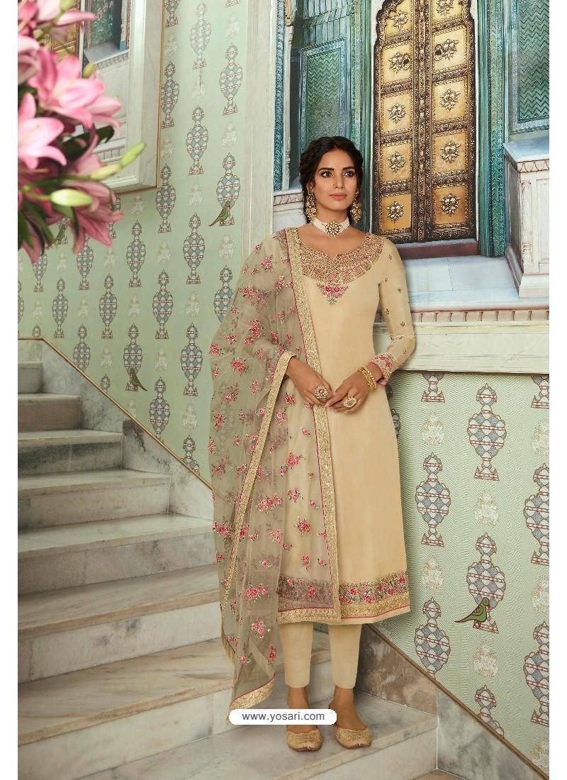 Cream Pure Tussar Silk Partywear Designer Suit