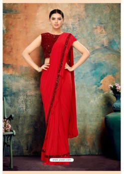 Red Heavy Designer Party Wear Saree