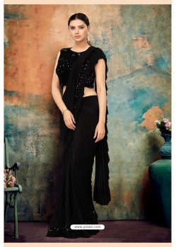 Black Heavy Designer Party Wear Saree