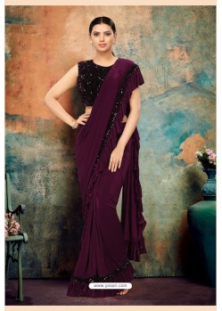 Wine Heavy Designer Party Wear Saree