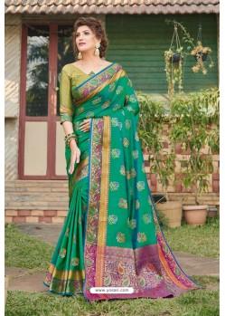 Teal Green Heavy Banarasi Silk Traditional Wear Saree
