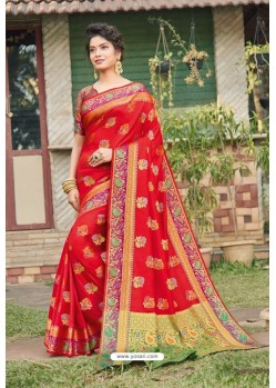 Red Heavy Banarasi Silk Traditional Wear Saree