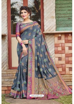 Grey Heavy Banarasi Silk Traditional Wear Saree