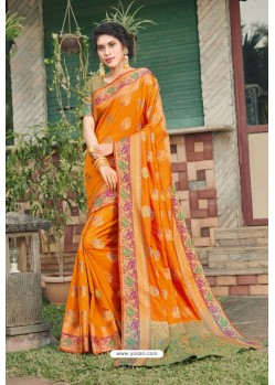 Orange Heavy Banarasi Silk Traditional Wear Saree
