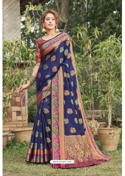 Navy Blue Heavy Banarasi Silk Traditional Wear Saree