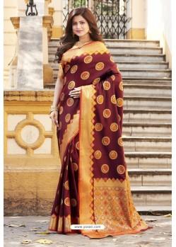 Maroon Heavy Banarasi Silk Designer Saree