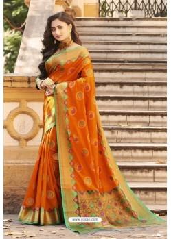 Orange Heavy Banarasi Silk Designer Saree