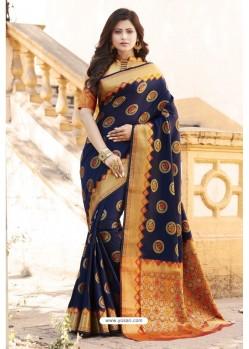 Navy Blue Heavy Banarasi Silk Designer Saree