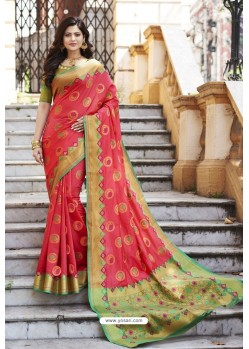 Crimson Heavy Banarasi Silk Designer Saree