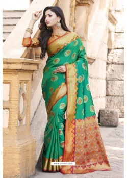 Teal Green Heavy Banarasi Silk Designer Saree